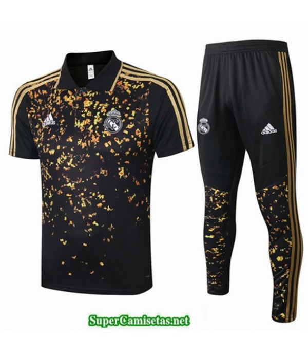Tailandia Camiseta Kit De Entrenamiento Real Madrid Polo Negro/amarillo 2020/21