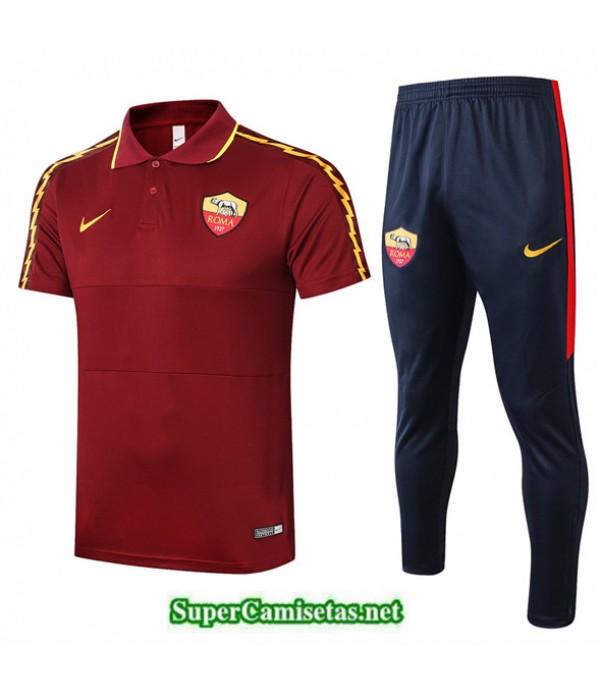 Tailandia Camiseta Kit De Entrenamiento As Roma Polo Rojo Oscuro 2020/21