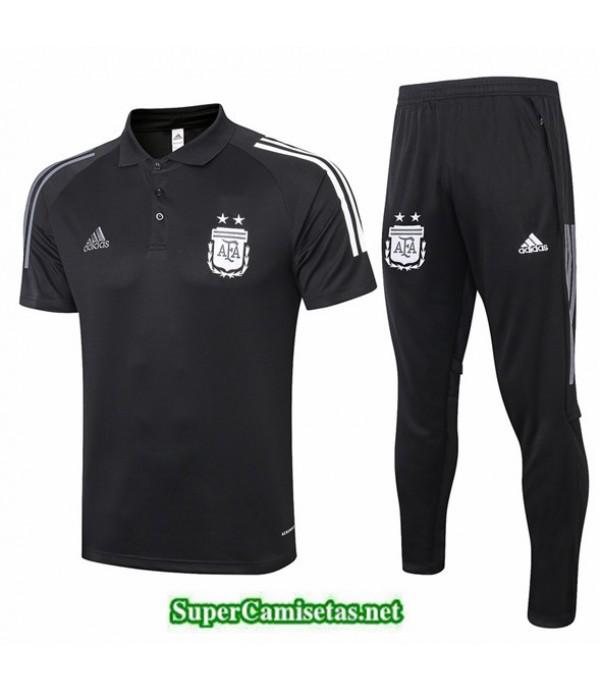 Tailandia Camiseta Kit De Entrenamiento Argentina Polo Negro 2020/21