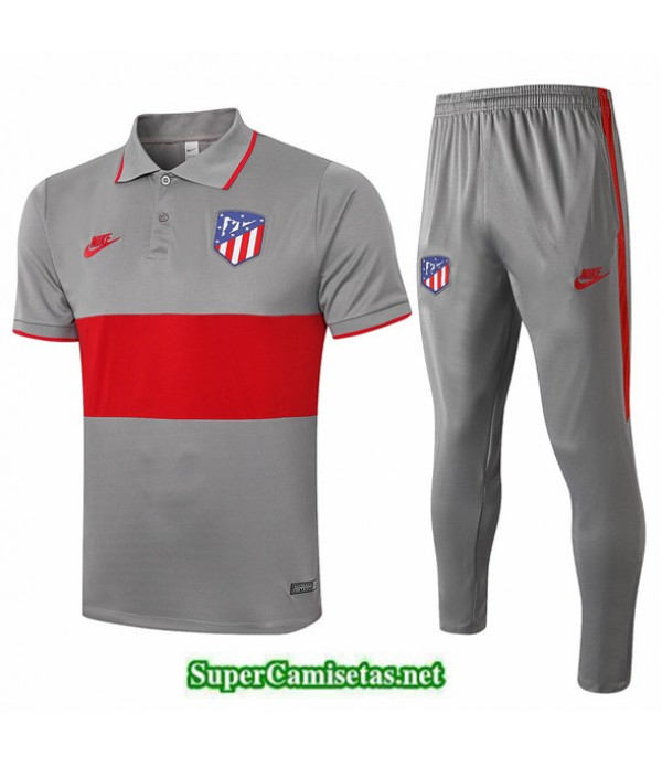Tailandia Camiseta Kit De Entrenamiento Atletico Madrid Polo Gris Oscuro/rojo 2020/21