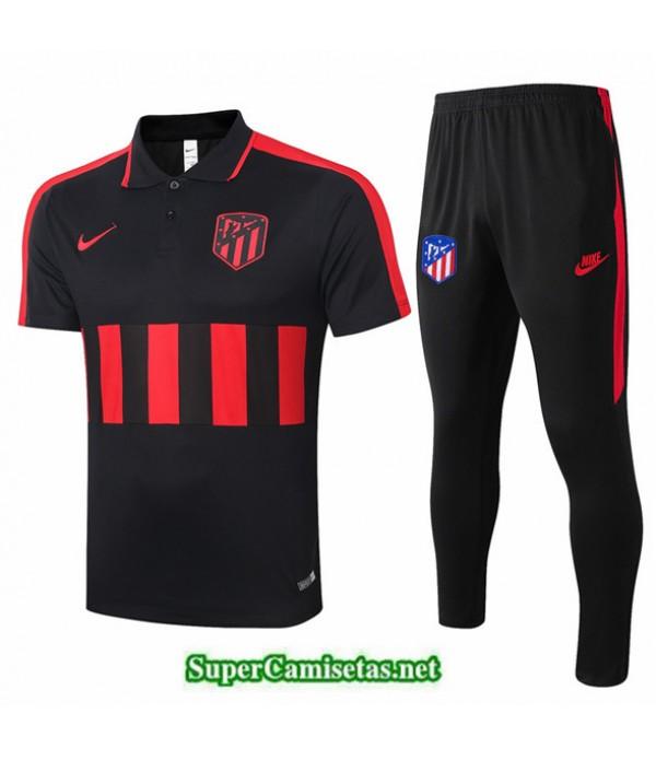 Tailandia Camiseta Kit De Entrenamiento Atletico Madrid Polo Negro/rojo 2020/21