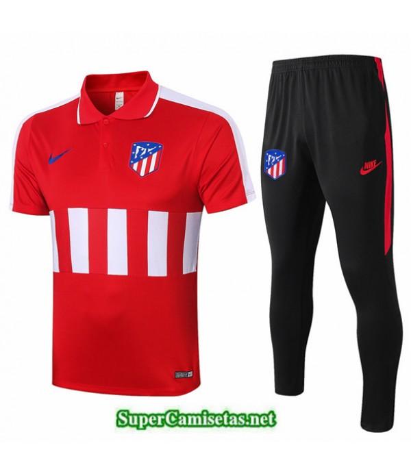 Tailandia Camiseta Kit De Entrenamiento Atletico Madrid Polo Rojo/blanco 2020/21