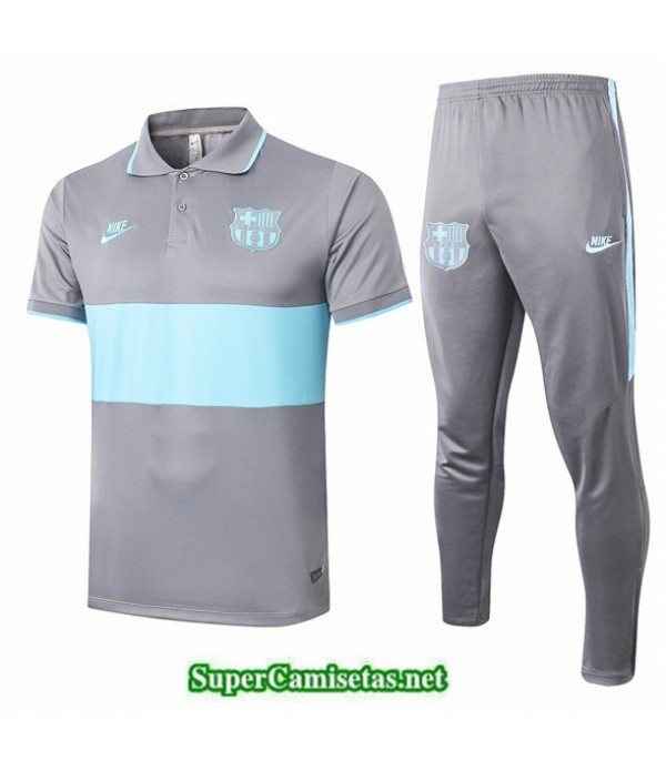 Tailandia Camiseta Kit De Entrenamiento Barcelona Polo Gris/verde 2019/20