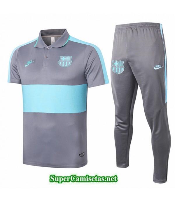 Tailandia Camiseta Kit De Entrenamiento Barcelona Polo Gris/verde 2020/21