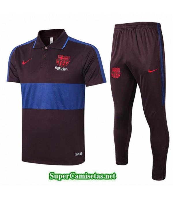 Tailandia Camiseta Kit De Entrenamiento Barcelona Polo Marrón Oscuro/azul 2020/21