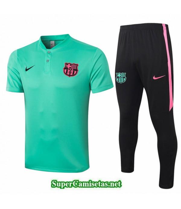 Tailandia Camiseta Kit De Entrenamiento Barcelona Polo Verde Claro 2020/21