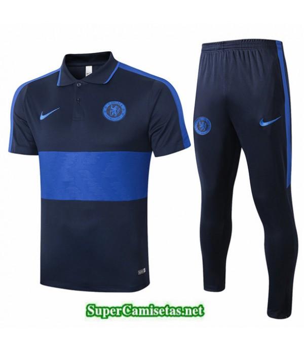 Tailandia Camiseta Kit De Entrenamiento Chelsea Polo Azul Oscuro/azul 2020/21