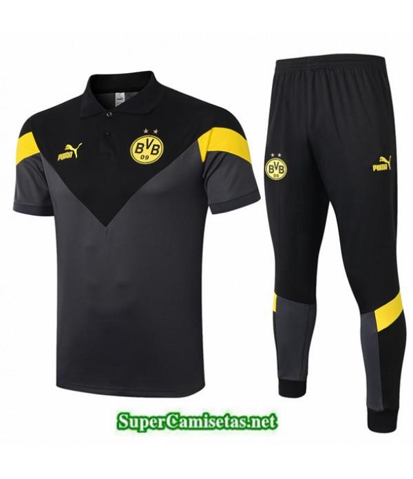 Tailandia Camiseta Kit De Entrenamiento Dortmund Polo Gris/negro 2020/21
