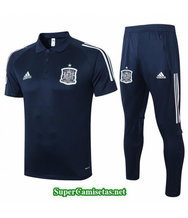 Tailandia Camiseta Kit De Entrenamiento Espana Polo Azul Oscuro 2020/21