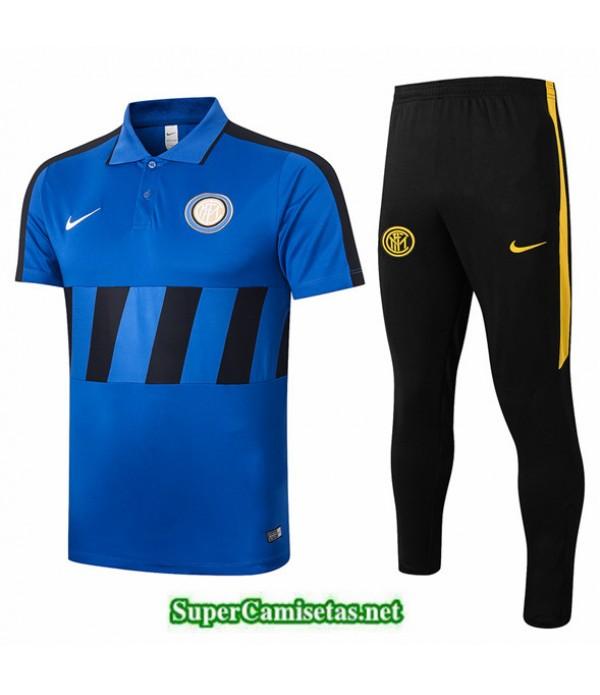 Tailandia Camiseta Kit De Entrenamiento Inter Milan Polo Azul/negro 2020/21
