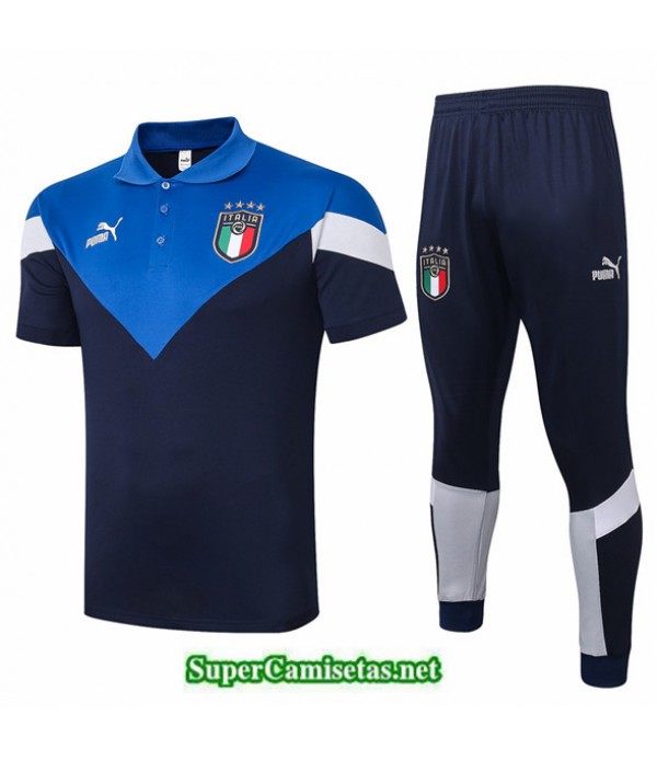 Tailandia Camiseta Kit De Entrenamiento Italia Polo Azul 2020/21