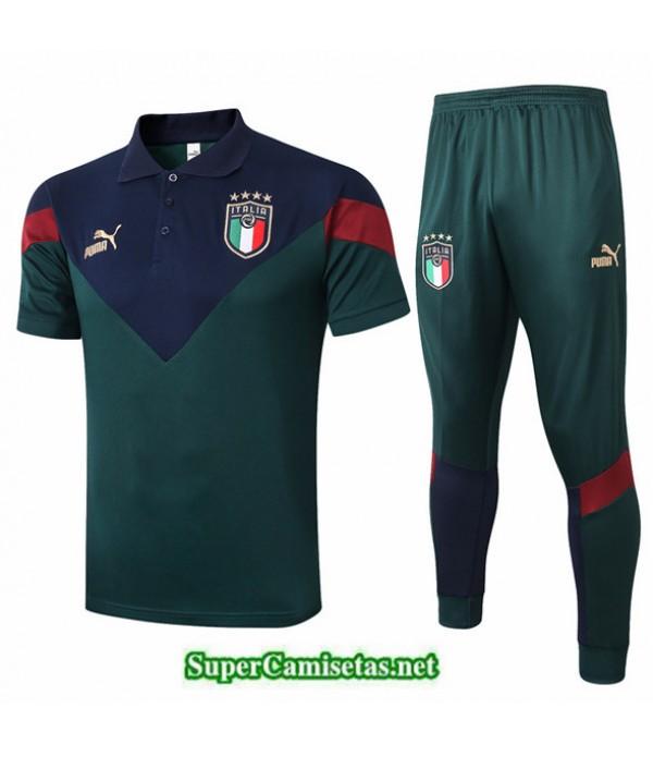 Tailandia Camiseta Kit De Entrenamiento Italia Polo Verde Oscuro 2020/21