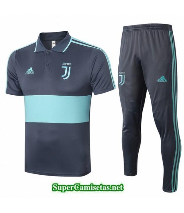 Tailandia Camiseta Kit De Entrenamiento Juventus Polo Gris/azul 2020/21