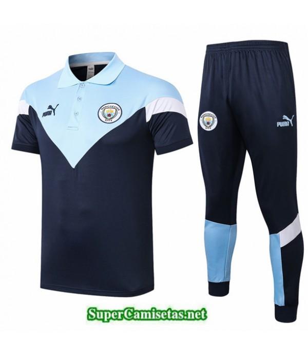 Tailandia Camiseta Kit De Entrenamiento Manchester City Polo Azul Claro 2020/21