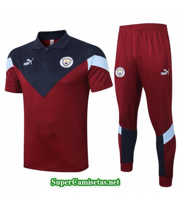 Tailandia Camiseta Kit De Entrenamiento Manchester City Polo Rojo Oscuro/azul Oscuro 2020/21
