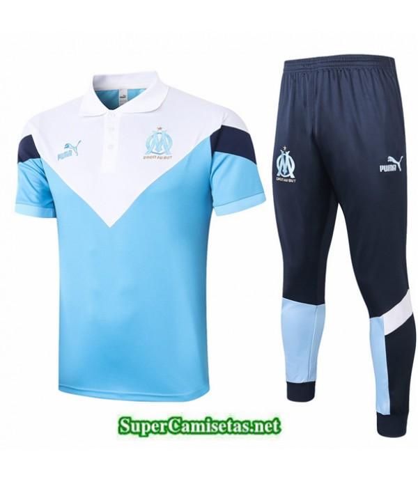 Tailandia Camiseta Kit De Entrenamiento Marsella Polo Azul/blanco 2020/21