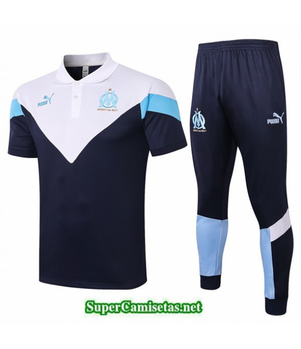 Tailandia Camiseta Kit De Entrenamiento Marsella Polo Azul Oscuro Blanco 2020/21