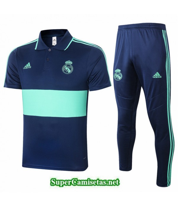 Tailandia Camiseta Kit De Entrenamiento Real Madrid Polo Azul Oscuro/verde 2020/21