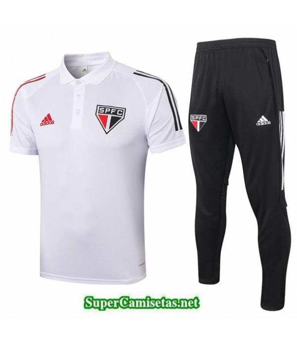 Tailandia Camiseta Kit De Entrenamiento São Paulo Polo Blanco 2020/21