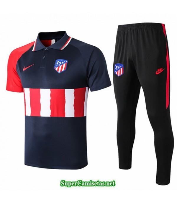 Tailandia Camiseta Kit De Entrenamiento Atletico Madrid Polo Azul Oscuro/rojo/blanco 2020/21