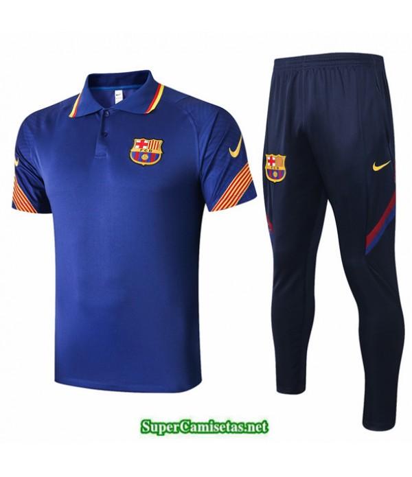 Tailandia Camiseta Kit De Entrenamiento Barcelona Polo Azul Marino 2020/21