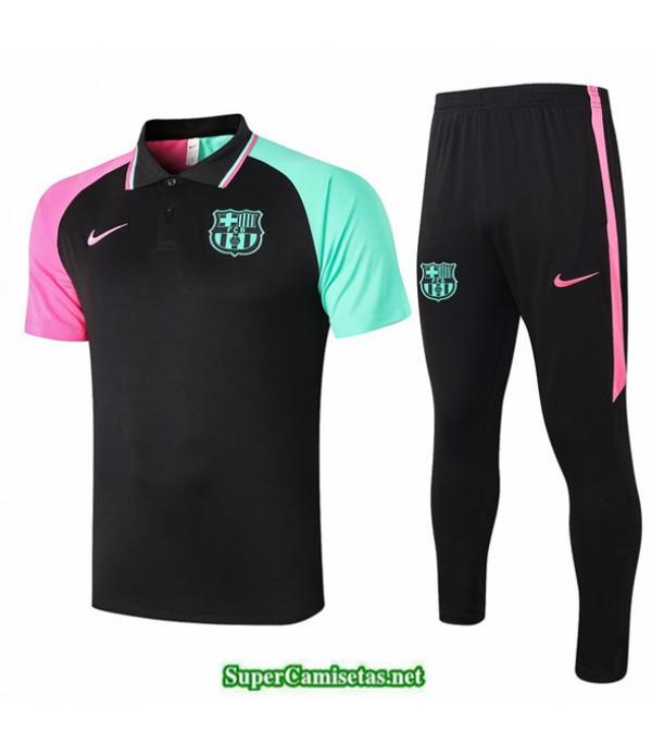 Tailandia Camiseta Kit De Entrenamiento Barcelona Polo Negro Bicolore 2020/21
