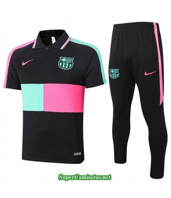 Tailandia Camiseta Kit De Entrenamiento Barcelona Polo Negro/verde/rosa 2020/21
