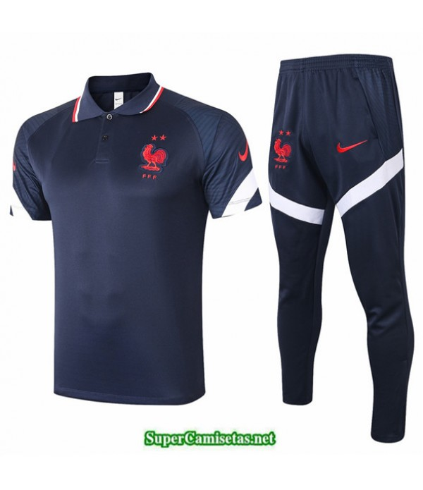 Tailandia Camiseta Kit De Entrenamiento Francia Polo Azul Marino 2020/21