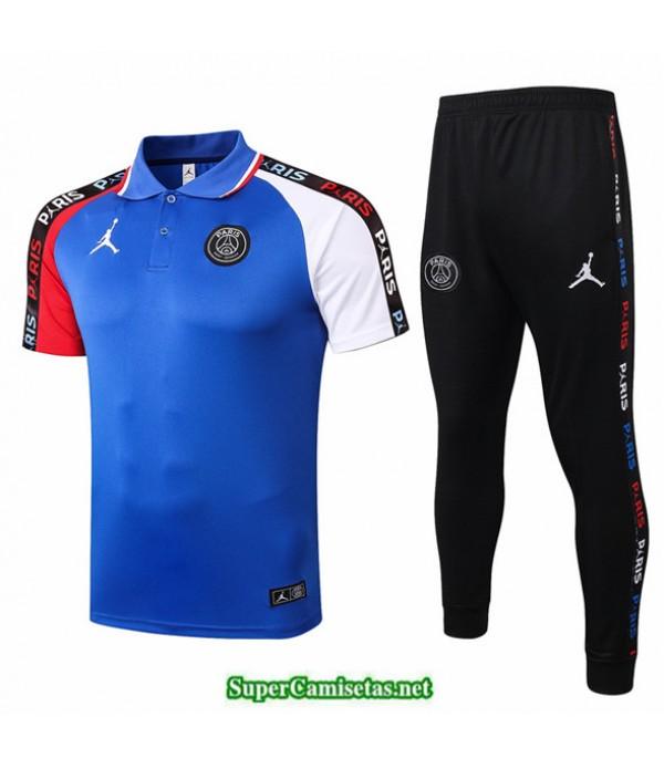 Tailandia Camiseta Kit De Entrenamiento Jordan Polo Azul/rojo/blanco 2020/21