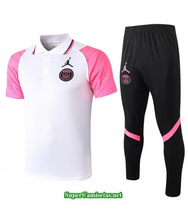 Tailandia Camiseta Kit De Entrenamiento Jordan Psg Polo Blanco/rosa 2020/21