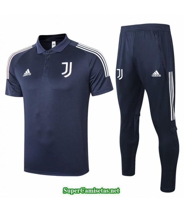 Tailandia Camiseta Kit De Entrenamiento Juventus Polo Azul Oscuro 2020/21
