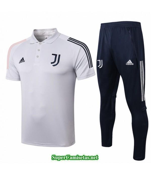 Tailandia Camiseta Kit De Entrenamiento Juventus Polo Gris Claro 2020/21