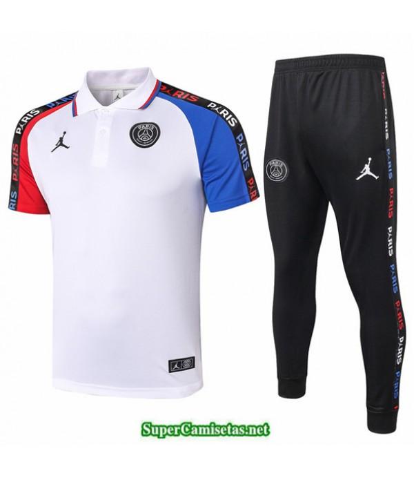 Tailandia Camiseta Kit De Entrenamiento Psg Jordan Polo Blanco Manche Rojo/azul 2020/21