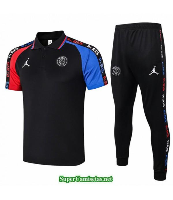 Tailandia Camiseta Kit De Entrenamiento Psg Jordan Polo Negro Manche Rojo/azul 2020/21