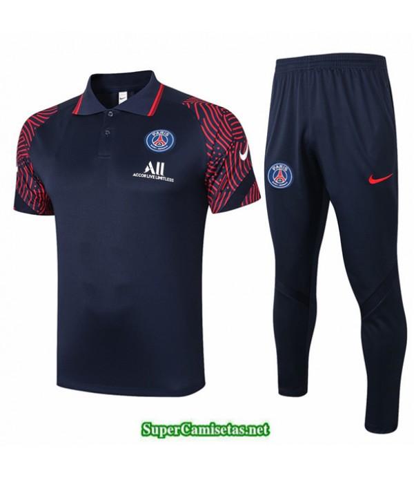 Tailandia Camiseta Kit De Entrenamiento Psg Polo Azul Marino/rojo 2020/21