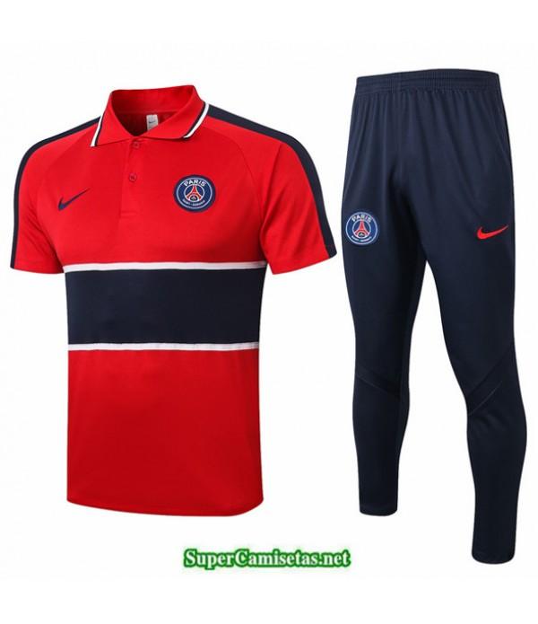 Tailandia Camiseta Kit De Entrenamiento Psg Polo Rojo/azul Oscuro 2020/21