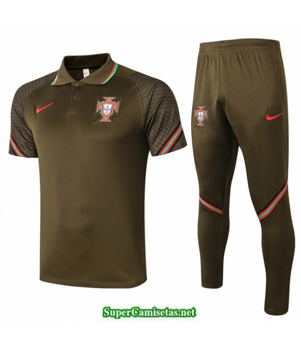 Tailandia Camiseta Kit De Entrenamiento Portugal Polo Negro 2020/21