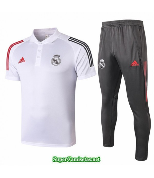 Tailandia Camiseta Kit De Entrenamiento Real Madrid Polo Blanco 2020/21