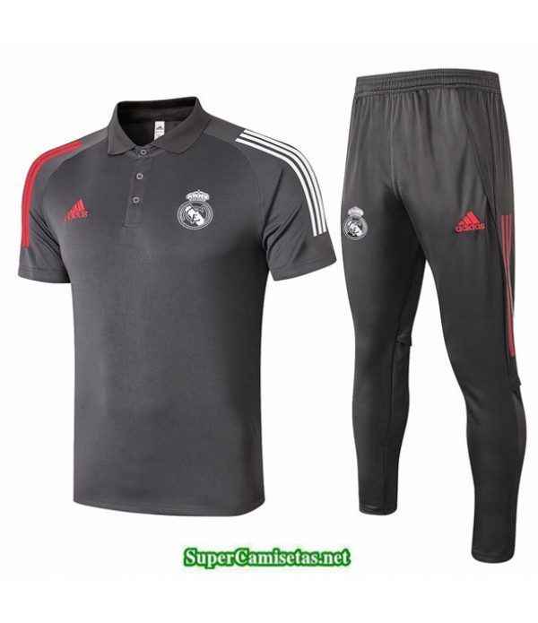 Tailandia Camiseta Kit De Entrenamiento Real Madrid Polo Gris Oscuro 2020/21