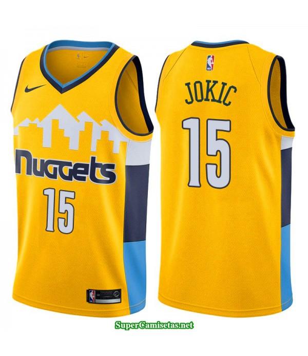 Camiseta 2018 Jokic 15 amarilla Denver Nuggets