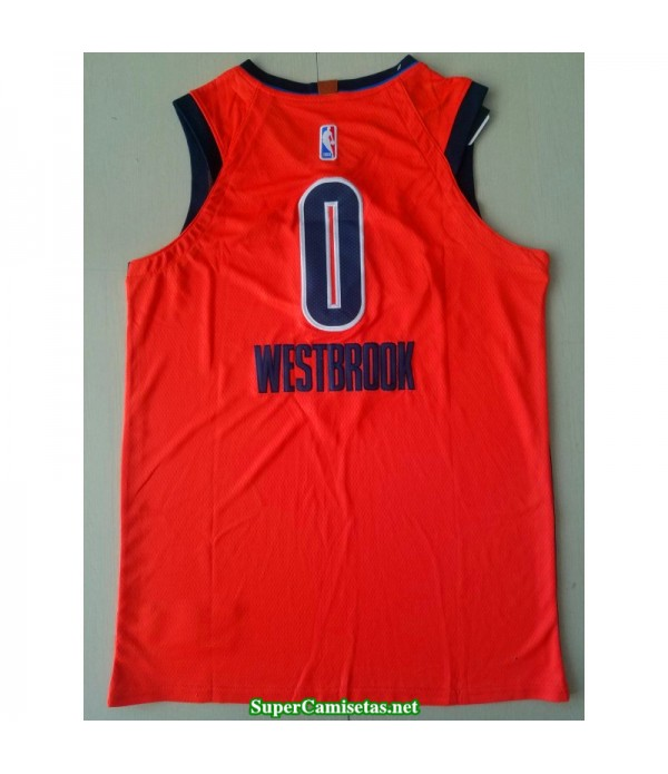 Camiseta 2019 Westbrook 0 naranja Oklahoma city