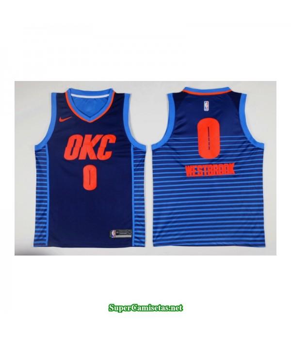 Camiseta nueva 2018 Westbrook 0 azul Oklahoma city