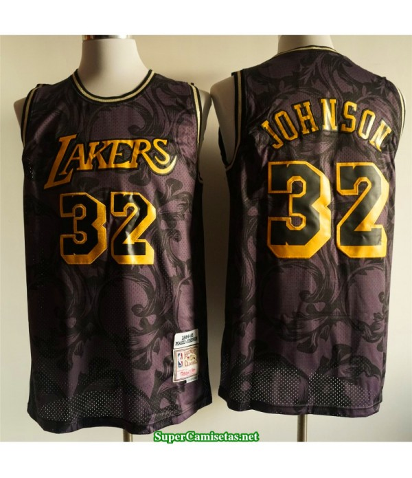 Camiseta Los Angeles Lakers Johnson 32 negra dorada