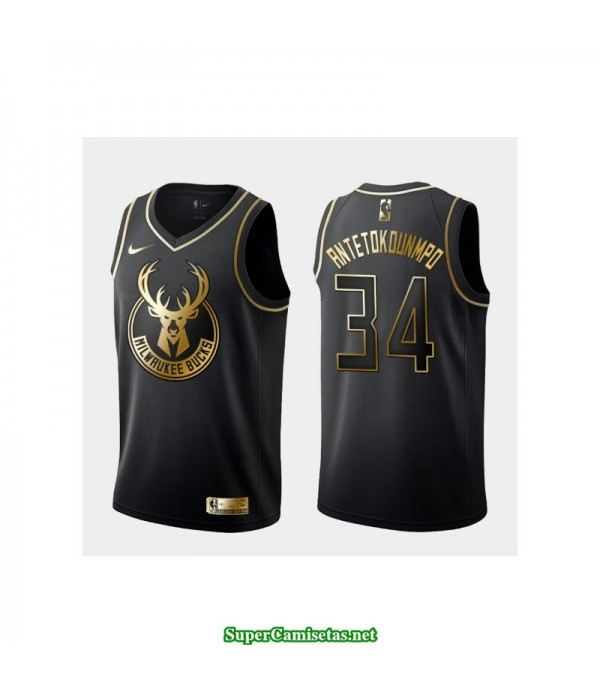 Camiseta 2019 Antetokunmpo 34 negra gold Milwaukee Bucks