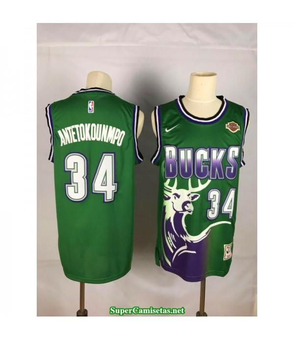 Camiseta 2018 Antetokunmpo 34 verde ciervo Milwaukee Bucks