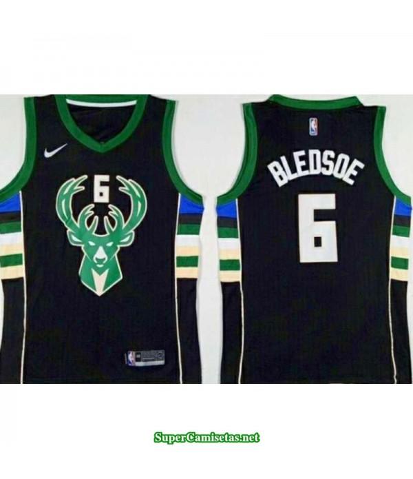 Camiseta 2018 Bledsoe 6 negra Milwaukee Bucks
