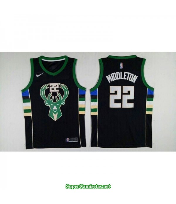 Camiseta 2018 Middleton 22 negra Milwaukee Bucks