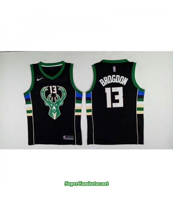 Camiseta 2018 Brogdon 13 negra Milwaukee Bucks