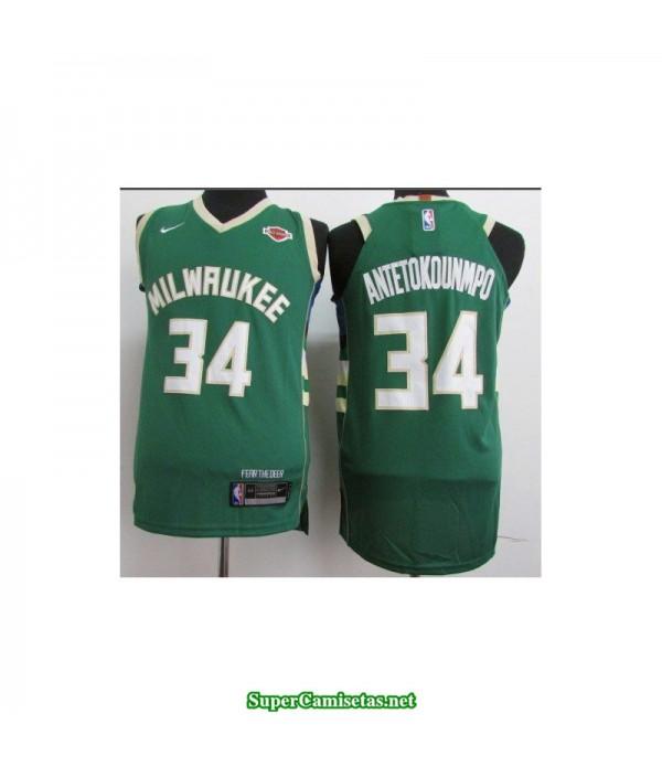 Camiseta 2018 Antetokunmpo 34 verde Milwaukee Bucks