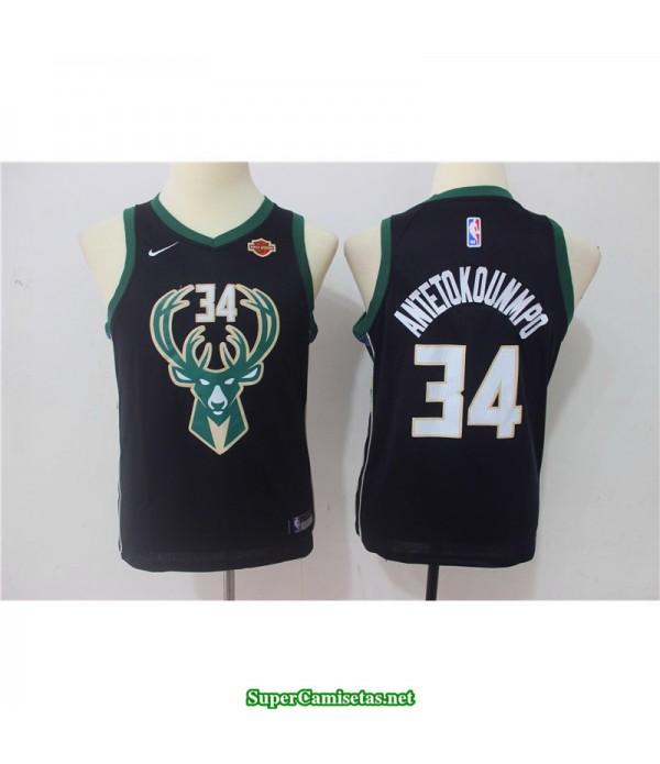 Camiseta Niños Antetokunmpo 34 negra Milwaukee Bucks
